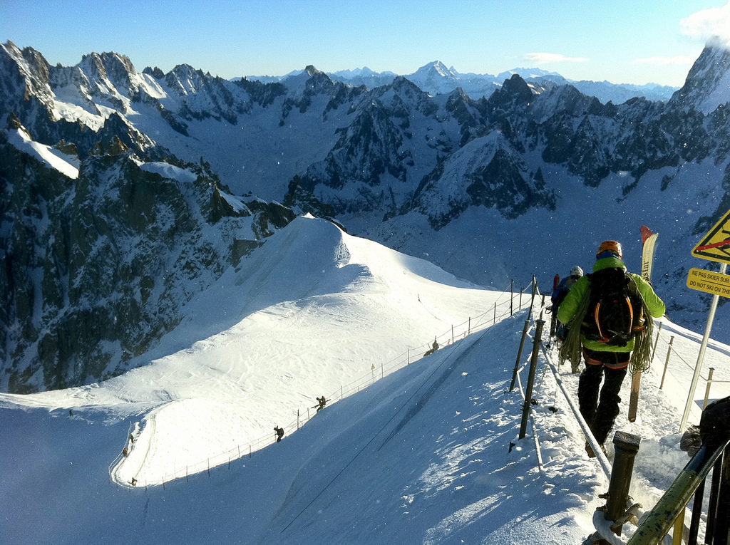 Chamonix is a great place for spring skiing in the French Alps